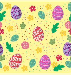 cute easter eggs seamless pattern with colorful vector image