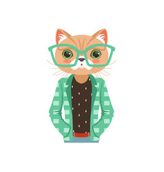 Cute fashion cat guy character in turquoise vector