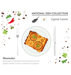 Cyprus cuisine european national dish collection vector