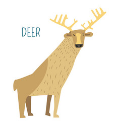 Deer with horns childish cartoon book character vector