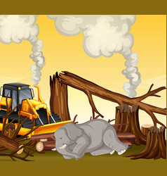 Deforestation scene with elephant dying vector