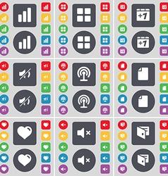 Diagram Apps Plus one Mute Wi-Fi File Heart Wallet vector