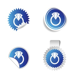 diamond sticker blue vector image