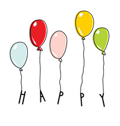 Drawn balloons with lettering HAPPY vector image