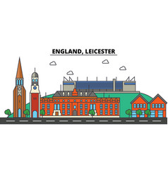 england leicester city skyline architecture vector image