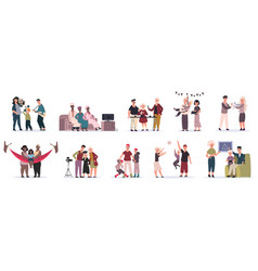family activities mother father and children vector image