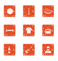 Festively icons set grunge style vector