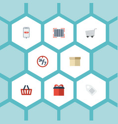 flat icons qr bag support and other vector image