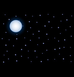 full moon and starry night sky on black background vector image