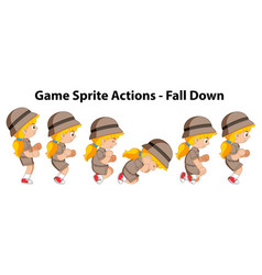 Game sprite actions fall down girl vector