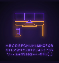 Gaming desk neon light icon vector