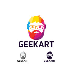 Geek art logo design vector