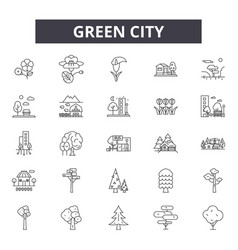 green city line icons signs set outline vector image