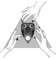Hands witches and the divination board planchette vector