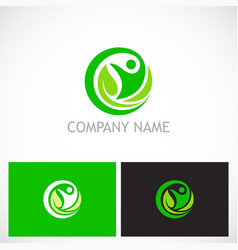 happy man green leaf ecology logo vector image