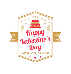 happy valentines day with lots of love stamp vector image