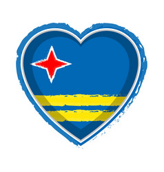 Heart shaped flag of aruba vector