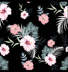hibiscus flowers with blue herbs seamless pattern vector image
