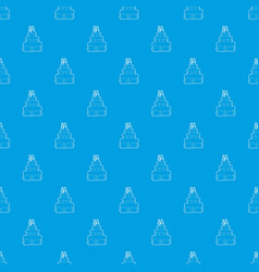 holiday cake pattern seamless blue vector image