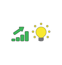 Icon concept sales bar chart with arrow vector