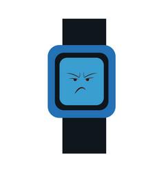 Kawaii watch clock angry character vector