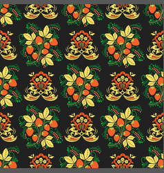 Khokhloma seamless pattern traditional vector