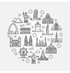 Landmarks round vector image