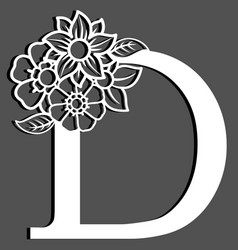 letter silhouette with flowers letter d vector image