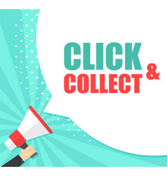 male hand holding megaphone with click and vector image