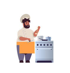 male professional chef cook preparing and tasting vector image