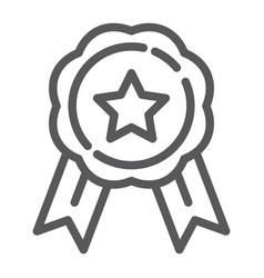 medal line icon award and achievement badge sign vector image