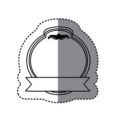 monochrome contour sticker with heraldic circle vector image