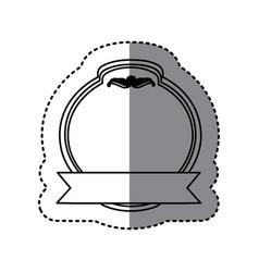 Monochrome contour sticker with heraldic circle vector