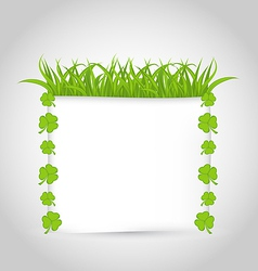 Nature invitation with grass and shamrocks for St vector