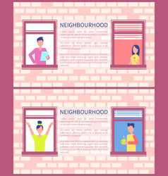 Neighbourhood poster copy space text brick wall vector