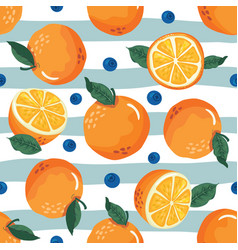 oranges on striped seamless background summer vector image