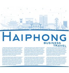outline haiphong vietnam city skyline with blue vector image