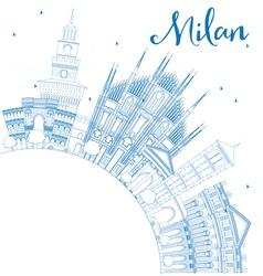 Outline Milan Skyline with Blue Landmarks vector image vector image