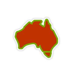 Paper sticker australian map on white background vector