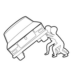 people overturned car icon outline vector image