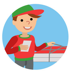 Pizza delivery man in uniform standing with box in vector