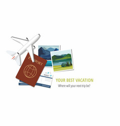 plane model photographs passports and tickets vector image