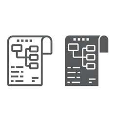 Planning line and glyph icon development vector