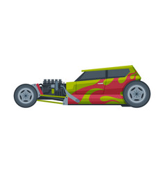 retro style hot rod race car old sports green and vector image