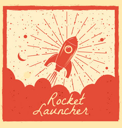 Rocket launcher startup rocket retro poster with vector