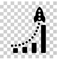 rocket success bar chart icon vector image