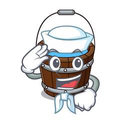 Sailor wooden bucket character cartoon vector