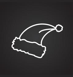 santa hat thin line on black background vector image