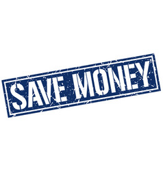 Save money square grunge stamp vector