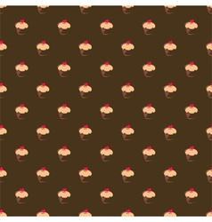 Seamless chocolate brown cupcakes background vector